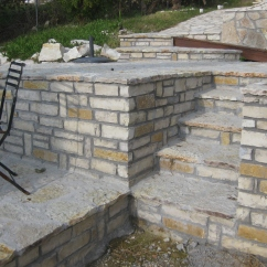 Square cut stone walls and steps