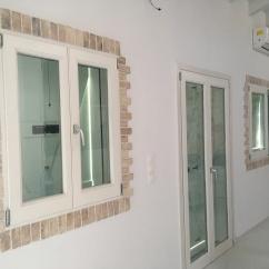 Detail brickwork cladding around window